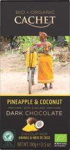 Cachet bio táblás étcsokoládé 57% ananász-kókusz 100 g