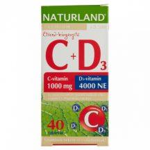 Naturland 1000mg c-vitamin+4000ne d-vitamin tabletta 40 db