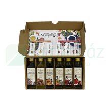 Grapoila ECETES KÓSTOLÓDOBOZ hidegen sajtolt olajok és balzsamecetek (szőlőmagolaj, dióolaj, tökmagolaj, sárgabarackos-bodzás balzsamecet, csipkés balzsamecet, meggyes balzsamecet) 1 doboz (6 x 40 ml)