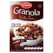 Emco gluténmentes müzli csokoládéval és mandulával, dobozos 340 g
